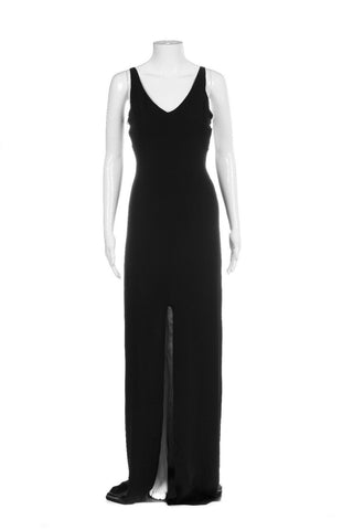 Black Maxi Gown Open Back And Slit Silk Dress Size S (New)