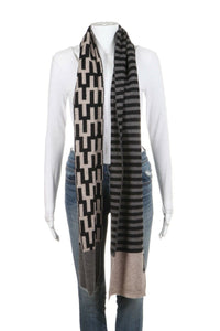 JONATHAN ADLER Scarf Tan Brown Printed Wool Cashmere Blend