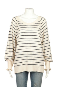 REBECCA TAYLOR Striped Wool Blend Sweater Size L