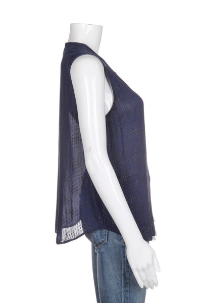 L'AGENCE for Barney's Blue 100% Silk Studded Top Size 2