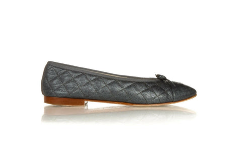 CHANEL Navy Quilted Ballet Flats Size 40