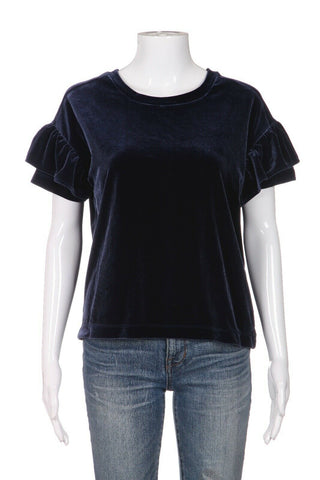 MADEWELL Velour Top Flutter Sleeve Size XS