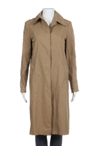ZARA Tan Brown Trench Coat With AWESOME Graphic Long Size S