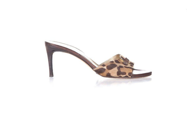 DOLCE & GABBANA Animal Print Slip On Sandals Size 37.5