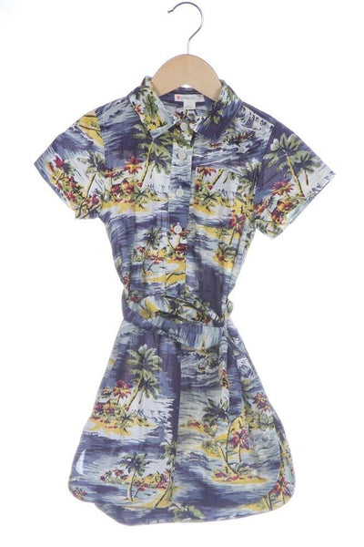 Tropical Print Shirt Dress Blue Size 4