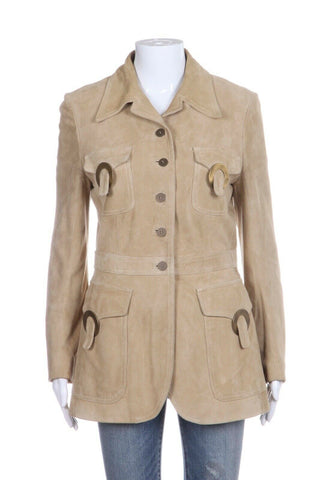 Valentino Beige Suede Leather Coat Size 10