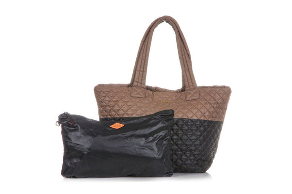 MZ WALLACE Medium Metro Tote Shoulder Bag Brown Black Quilted