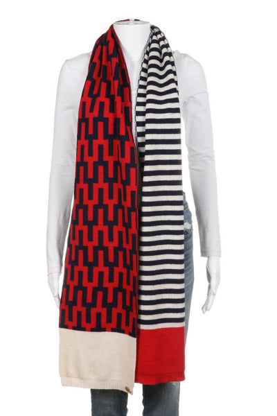 JONATHAN ADLER Scarf Red Navy Blue Printed Wool Cashmere Blend