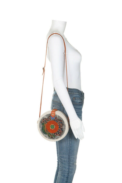 Unbranded Structured Circle Hand Painted Wicker Bag