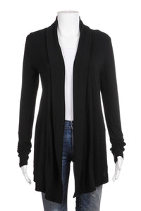 THEORY Lightweight Black Open Draped Cardigan Size S