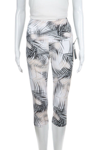 2371a73ee1759d NUX White Madrid Gold Black Palm Leaf Yoga Capri Pants Leggings Size S (New)