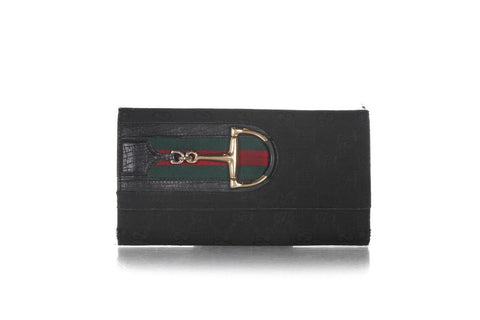GUCCI Vintage Canvas Logo Horsebit Wallet