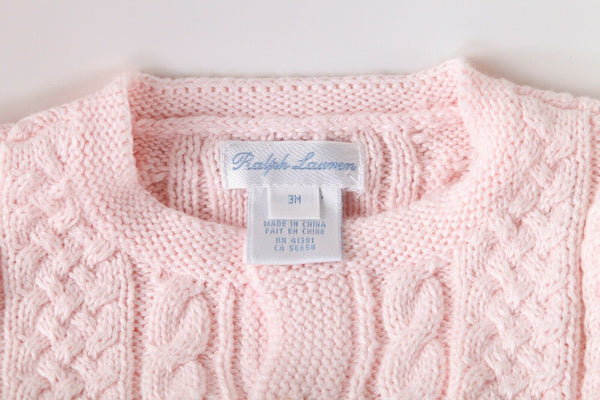 RALPH LAUREN Baby Cable Knit Cardigan Size 3M (New)