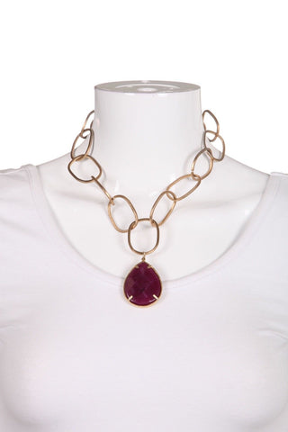 REBECCA NORMAN Gold Tone Linked Purple Teardrop Pendant Necklace