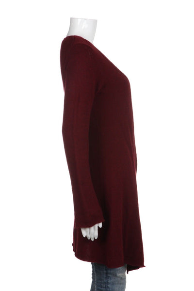 JULES ALLEN Marron Red 100% Cashmere Open Cardigan Sweater Size S