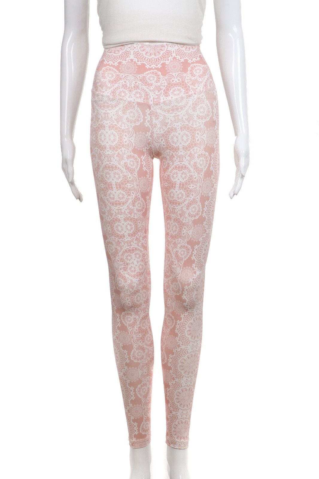 DYI Powder Pink White Lace Printed Full Length Yoga Pants Leggings Size XS