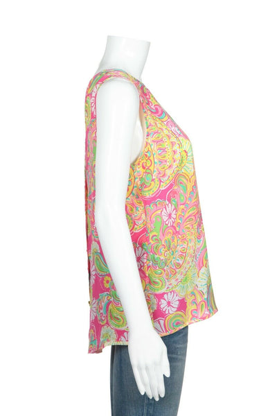 LILLY PULITZER 100% Silk Floral Top Size M