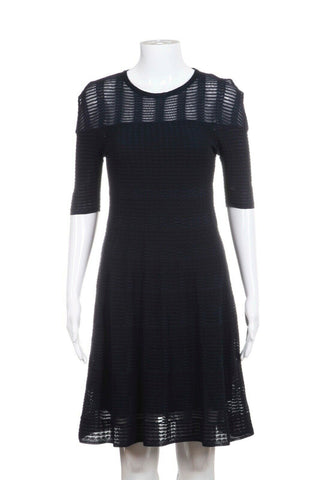 Navy Blue Short Sleeve Knit Dress Size IT38 / 2