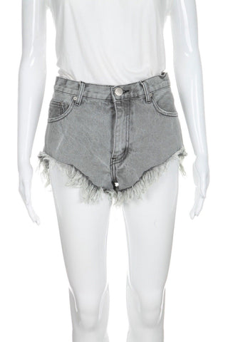 GLAMOROUS High Rise Denim Frayed Shorts Size M