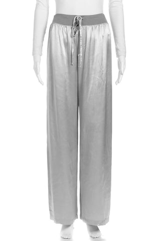 PJ HARLOW Satin Silver Jolie Lounge Pants Size S (New)
