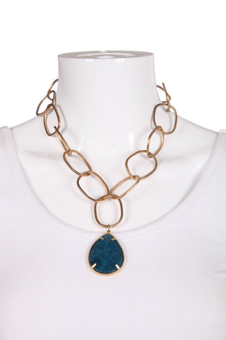 REBECCA NORMAN Gold Tone Linked Blue Teardrop Pendant Necklace