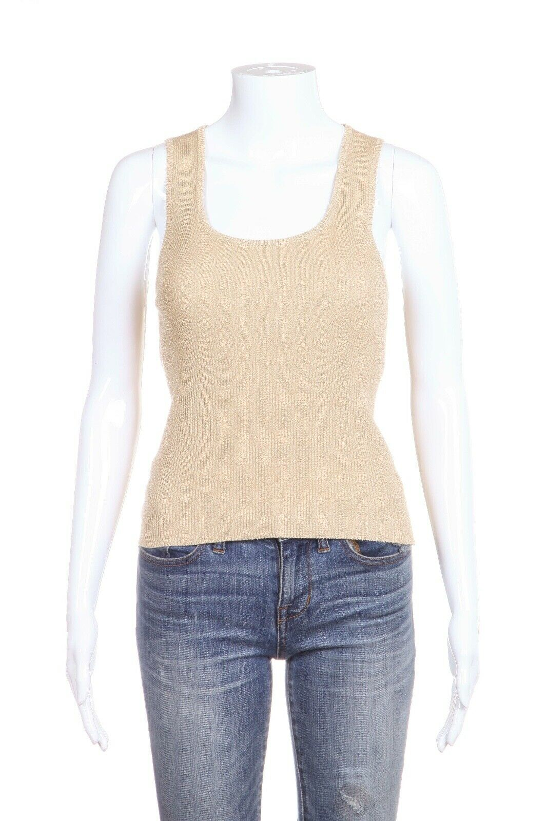 CELINE Sleeveless Metallic Knit Top Size M
