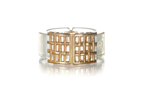 TORY BURCH Clear Resin Gold Plated Bracelet