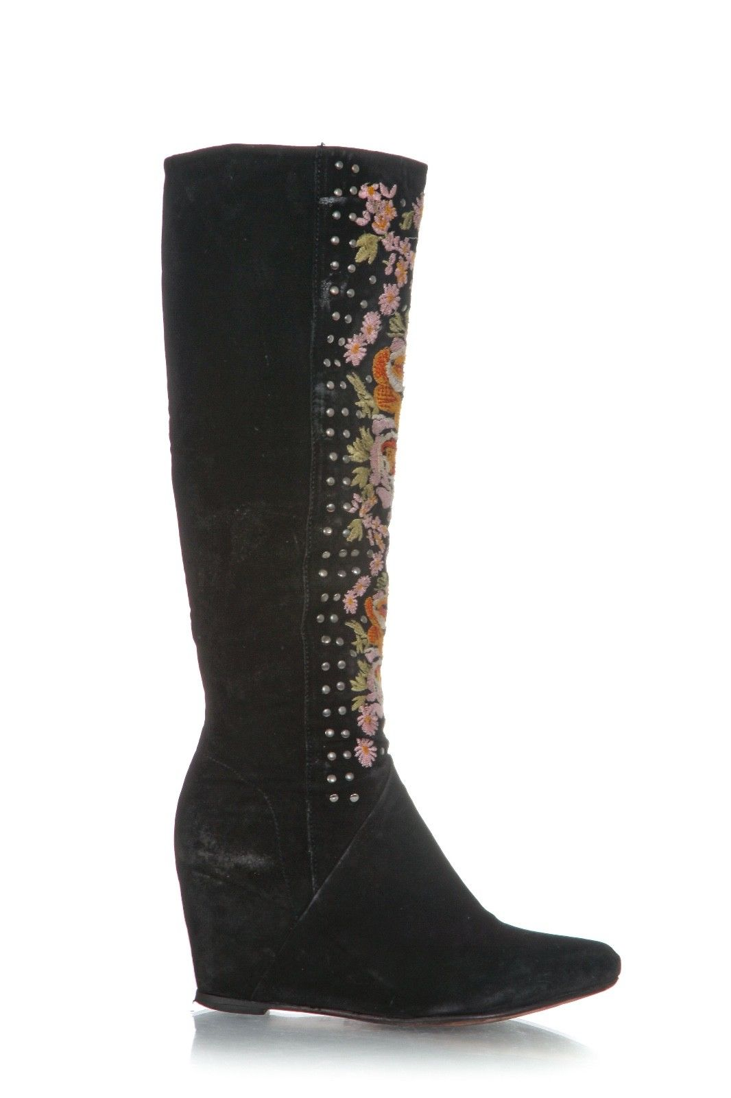 FREE PEOPLE Penny Lane Black Suede Flower Embroidered Wedge Boots Size 9