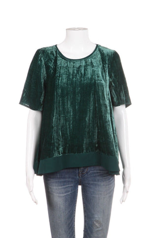 MAEVE Green Crushed Velvet Short Sleeve Blouse Size XS
