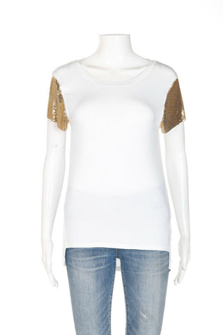 MICHAEL KORS Gold Sleeve Tee Size XS (New)