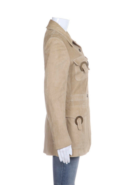 VALENTINO Suede Leather Coat Size 10