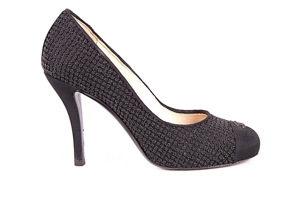 CHANEL Black Satin Beaded Round CC Cap Toe Logo Pumps Size 38
