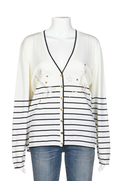 ESCADA Striped Cardigan Sweater Size 44 (XL)
