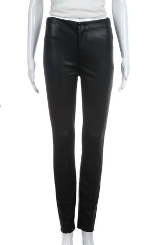MOTHER Black Faux Leather Skinny Pants Size 26
