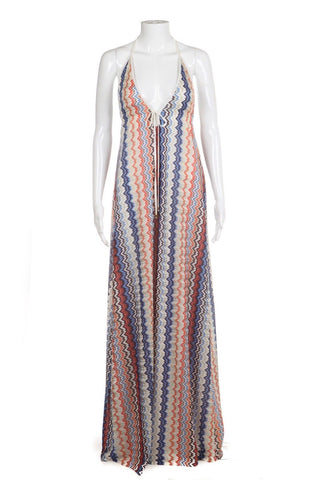 KARINA GRIMALDI Halter Maxi Dress Chevron Aztec Print Blue Orange Size XS