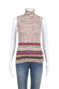 MISSONI Sleeveless Knit Purple Beige Striped Turtle Neck Top Size S