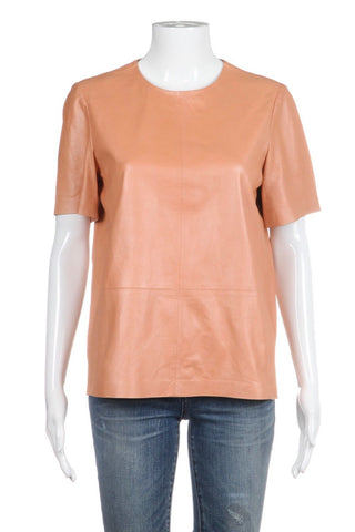 TRUTH AND PRIDE Peach Crew Genuine Leather Top Size S