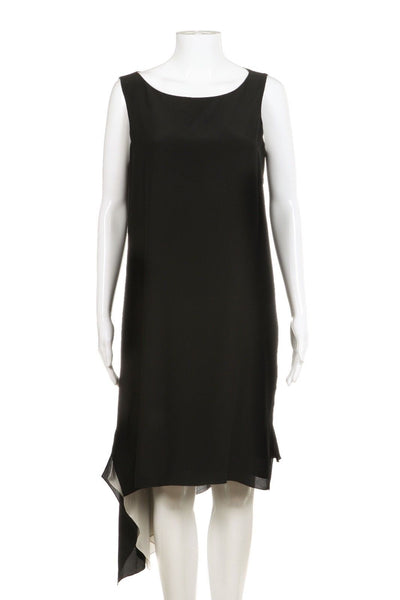 EILEEN FISHER Black Asymmetrical 100% Silk Dress Size Petite M