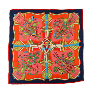 HERMÈS Bouquets Sellier Multi-Colored Silk Scarf
