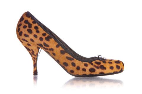PRADA Cheetah Pony Hair Print Heels Pumps Round Toe Size 38