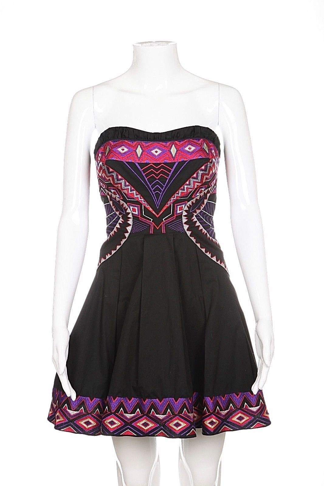 Karen Millen Strapless Flared Dress with Embroidery