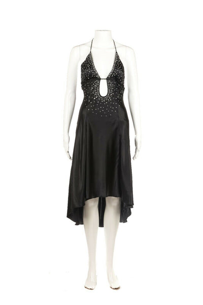 MARCIANO 100% Silk Embellished Halter Dress Size S