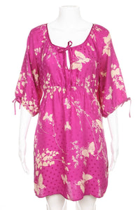 Pink Cream Floral Print Silk Tunic Dress Size S