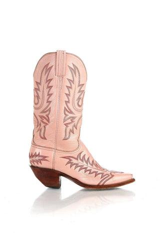 LUCCHESE Leather Embroidered Cowboy Boots Size 8