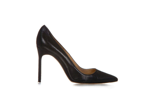 Black Leather Pointed Toe Classic Pumps Size 38