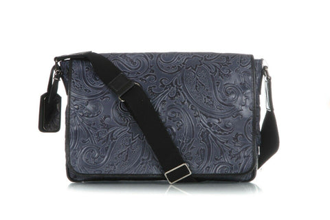 Blue Leather Paisley Print Messenger Bag