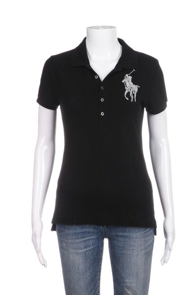 RALPH LAUREN The Skinny Polo Shirt Pearl Appliqué Size M