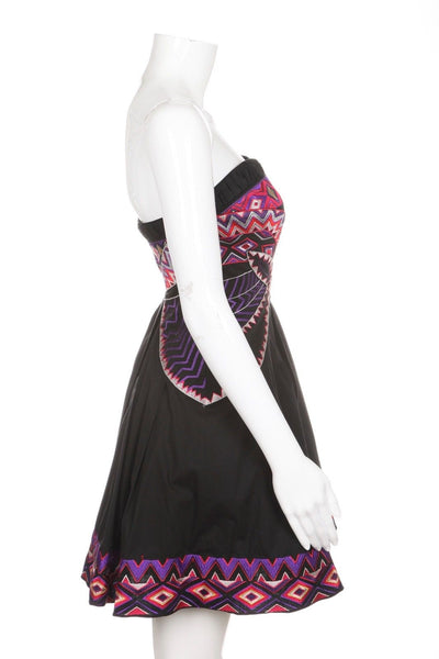 KAREN MILLEN Black Strapless Tribal Dress Size 8