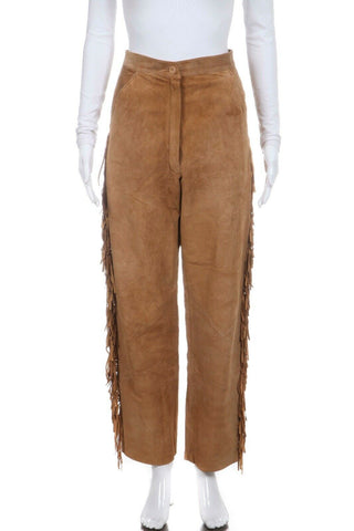 MARY DZENUTIS Suede Leather Western Fringe Pants Size 8