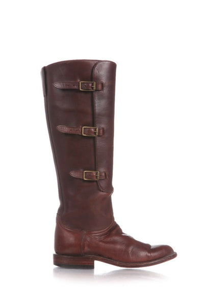 LUCCHESE Knee High Buckle Leather Boots Size 7.5